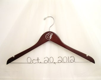 Wedding Dress Hanger with Monogram Initial and Wire Date, Name, or Phrase. Dark Walnut Wood