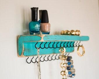 Jewelry Organizer: Farmhouse Decor - Teal w/25 Black Hooks; Necklace Holder; Jewelry Storage; Wall Mount Necklace Organizer; Rustic Decor