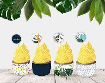 Party Animal Printable Cupcake Toppers and Wrappers