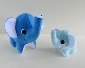 100% Acrylic Felt Mumma/Daddy and Baby Elephant Handsewn Toys