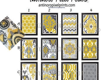Shades of Mustard Ikat Geometric Mustard Yellow Grey White Prints, Set of Any (1) Wall Art Prints, Custom Colors Available #400626019