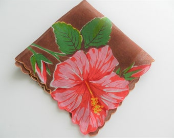 Brown Hankie, Pink Floral Handkerchief, Collectible Hankie,  Floral Hankie,  Fancy Hankie, FREE USA Shipping