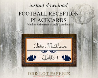 Printable Football Themed Placecards Sports themed wedding escort card for football wedding DIY Tent Cards or Place cards Party Label