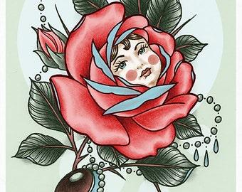 Doll-Face Rose Tattoo Art Print