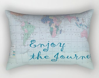 World Map Pillow Case - Enjoy the Journey,  map decor,  travel, wander, classic,  bedroom, bedding
