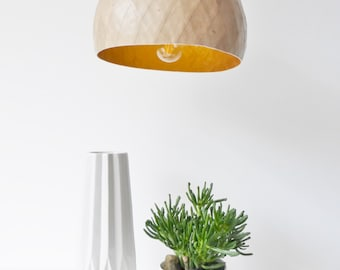 Light fixture, suspension, kraft and gold, recycled kraft paper, paper mache