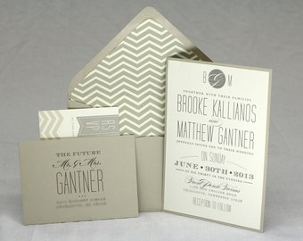 Chevron Wedding Invitation Sample // Modern and Elegant // Purchase this Listing to Get a Sample