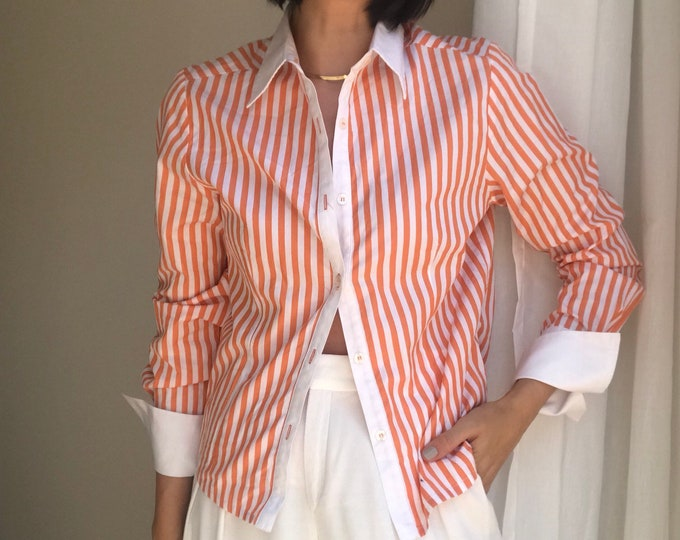 90s Tangerine Stripe Button Up