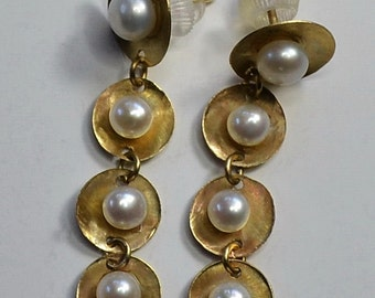 14K Solid Gold Handmade Earrings With Pearls