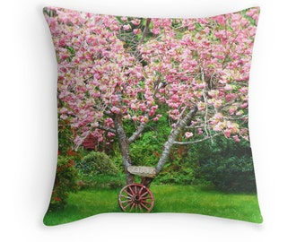Spring Flowers, Cherry Blossoms, Wagon Wheel, Pink and Green Decor, Pink and Green, Pastoral Decor, Spring Pillows, Spring Decor  Pillow