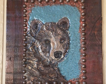 Rustic Wood Brown Bear Wall Hanging, Copper, Cabin Wall Hanging, Repurposed Old Wood