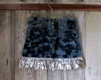 Upcycled Repurpose Blue Denim Jean Skirt Child Size 5 12 Inches Long Silver Ruffle at Bottom to Match Silver Studs on the Front of the Skirt