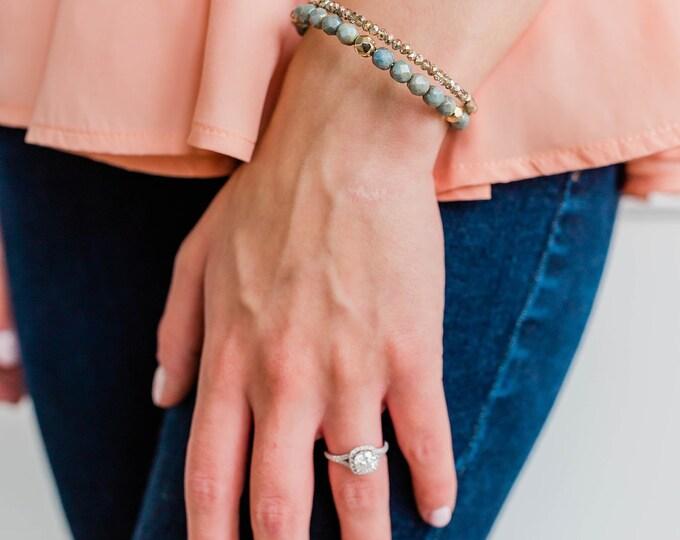 Blue and Gold Double Wrap Bracelet, No Clasp Bracelet, Unique Jewelry, Beaded Bracelet, Stack Jewelry, Beaded Jewelry