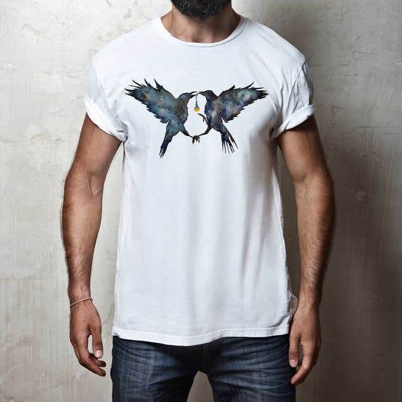 Magic Ravens | Unisex T-Shirt |Shamanic crow | Elixir Potion | Galaxy | Witchcraft | Spirit animal totem | Native American | ZuskaArt
