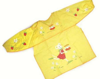 Apron pattern yellow plastic mouse / apron for kindergarten, painting or crafting