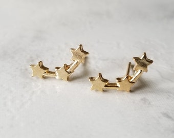 Climber Earrings, Stars Climber Earrings, Gold Climber Earrings, Gold Stars Earrings, Constellation Earrings, Stars Earrings, Ear Crawler