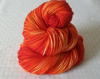 "Hand dyed Yarn / Handdyed Yarn, Sock Yarn - Tonal Yarn / Semi Solid Yarn – ""Blood Orange"" – DK Weight / 100% Superwash Merino – 100g"