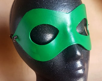 Green Pointed Domino Mask - Pointed Edge Molded Leather Mask - Superhero Costume Mask
