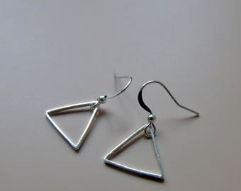 Triangle geometric silver earrings