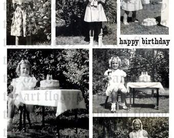 DIGITAL collage sheet - HAPPY BiRTHDAY 2 ME - vintage photographs, party, celebrate, girls, dresses, cake