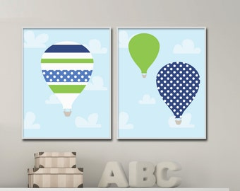 Baby Boy Nursery Wall Art, Hot Air Balloon Wall Art Prints, Suits Blue and Green Nursery Decor and Bedroom Decor- H256