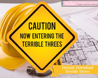Instant Download Construction Sign - Construction Party Printable - Now Entering the Terrible Threes Birthday Sign - Construction Party Sign