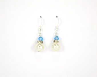 Aqua earrings, Pearl earrings, bridesmaid earrings,  ivory pearl earrings,  bridal earrings,  earrings,  dangle earrings,  crystal earrings,