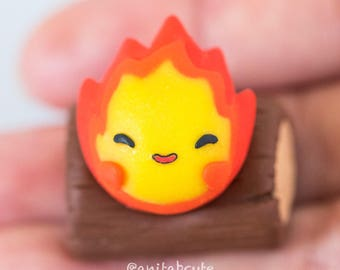 Polymer Clay Howl's Moving Castle Inspired Magnetic Calcifer Figurine, Magnetic Figurines, Magnet
