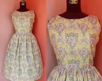 Rockabilly Dress Women Casual Dress Summer Dress Sundress Green Floral Dress Flower Print Dress Cotton Dress Knee Length Dress Small Size 4