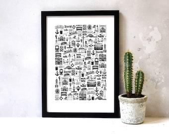 Brighton Print - Brighton gifts - Brighton and Hove Art - Brighton Illustration