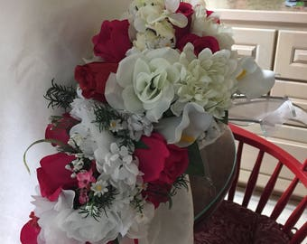Wedding Bridal bouquet  white flowers with some red 011