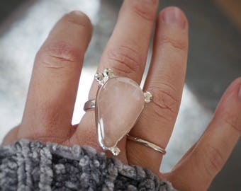 Rose quartz & sterling silver ring : size 6.5