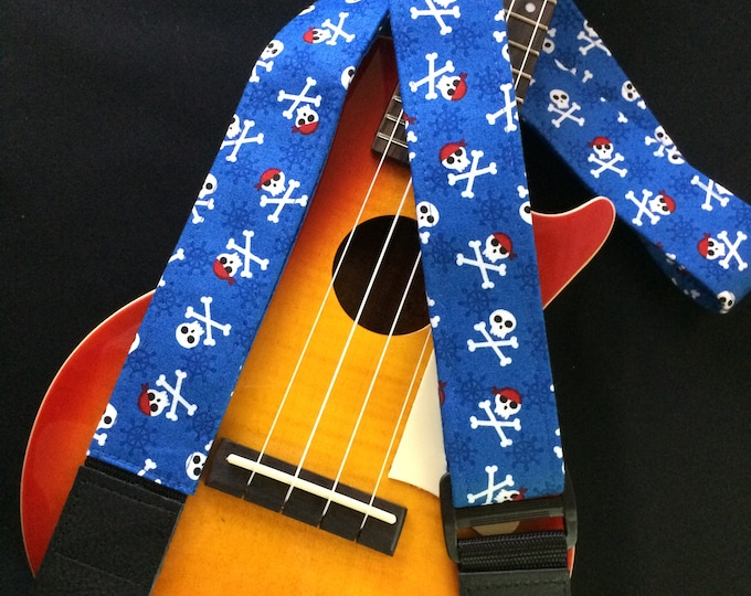 Ukulele strap, mandolin strap or child guitar strap // pirate skull and crossbones on a blue background // retro jolly roger nautical gift