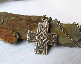 Cross Necklace, Celtic Cross, Rustic Cross Pendant, Fine Silver Square Cross