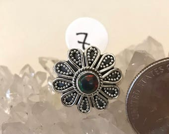 Fire Opal Daisy Ring, Size 7