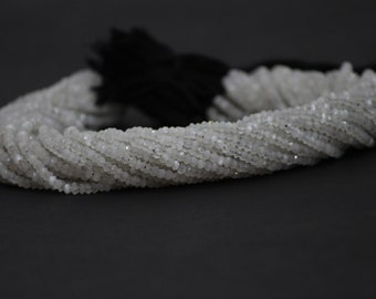 100% Natural Saloni Moonstone Faceted Rondelle Beads | Natural Saloni or Siloni Moonstone | Faceted Moonstone Beads Strand