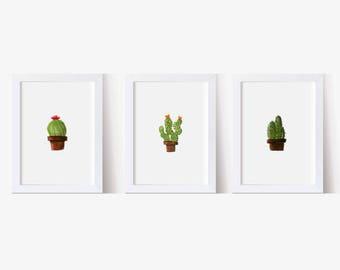 Set of 3 Cactus's, Watercolor Picture Cactus Art Print, Succulents Print, Succulent Picture, Watercolor Art, Cacti Art Print, Kitchen Art