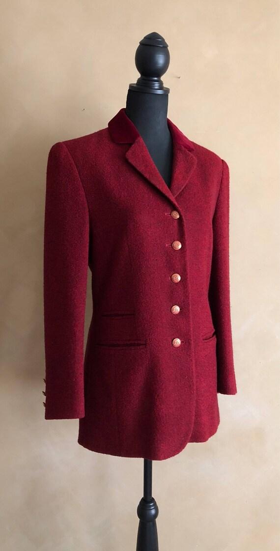 Vintage Red Wool & Velvet Blazer - Daniel Hechter - Paris