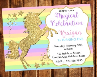 Rainbow Unicorn Birthday Invitation, Rainbow Unicorn Invitation, Birthday Invitation, Unicorn Birthday Invitation, Unicorn Party, Girl