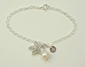 Beach Wedding Bracelet, Sterling Silver Starfish Bracelet, Pearl Bracelet with initial, Beach Bridal Bracelet, Starfish Bridal Jewelry