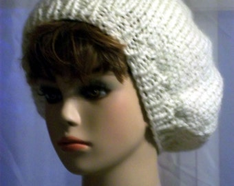 Hand Knit Beret Hat - Slouch Hat - white
