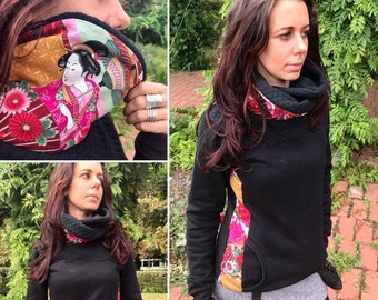 Handmade sweatshirt. Black with Japanese print details. Turtleneck. Cotton fabric. Made in Spain.