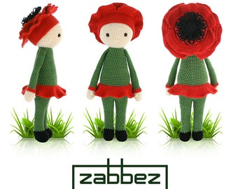 "Crochet pattern amigurumi doll ""Poppy Paola"" PDF"