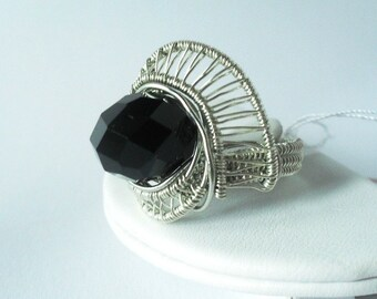 chunky wire wrapped beaded silver ring