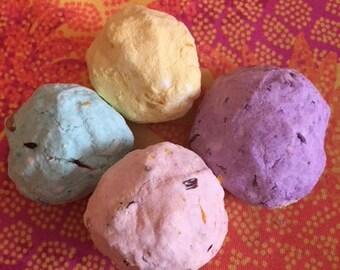 Assortment of Bath Fizzies (lavendar,lemongrass,lemony + frankincense/amber)