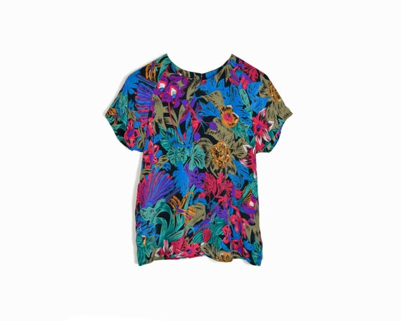 Vintage 90s Tropical Print Blouse in Jewel Tones / Floral Print Top - petite medium