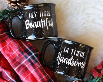 Couples Mug Set / Campfire Mugs / Hey There Beautiful Mug / Hi There Handsome Mug / Wedding Gift Set / Couples Gift / His and Her Set