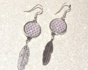 Earrings ' Silver earrings 925, feather charms, cabochon taupe with pink dots