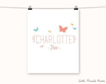 Charlotte name art etsy charlotte butterfly fine art paper baby decor baby monogram art birth digital print custom birth print baby shower g11g41a negle Gallery