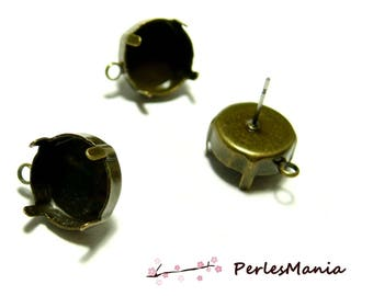 2 support of chip round earrings claw and findings ID31523 BRONZE 10mm